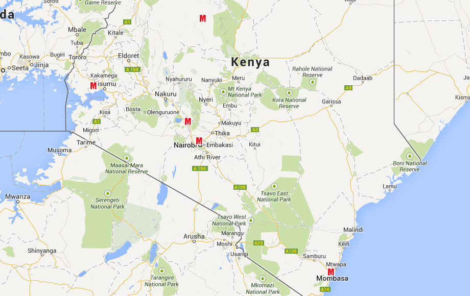 Our 4 workshop locations and head office in Nairobi