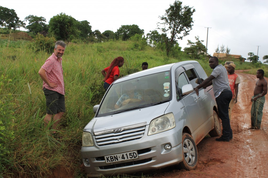 A slight mishap on route to a village meeting in the Shimba Hills